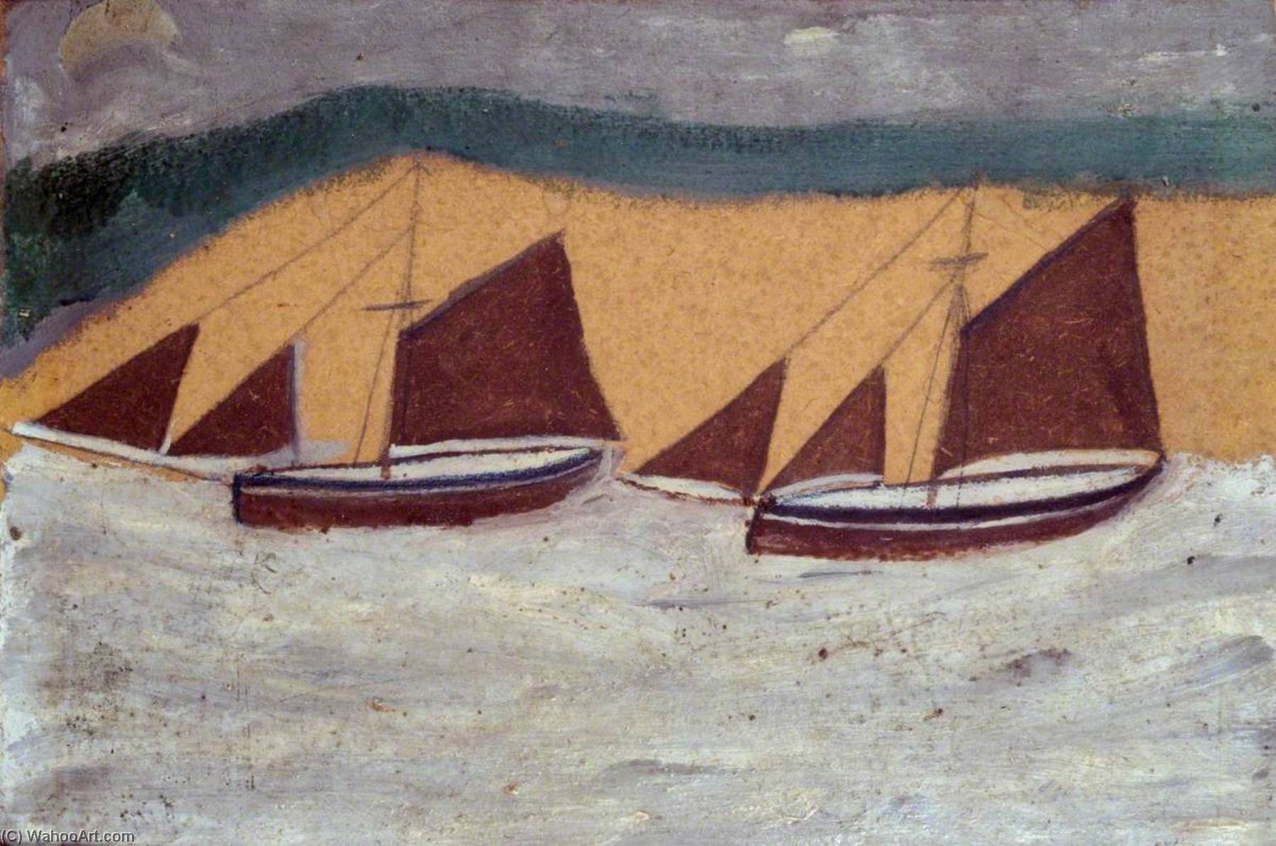 due barche, penna di Alfred Wallis (1855-1942, United Kingdom)
