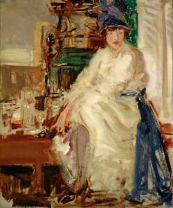 Francis Campbell Boileau Cadell - Peggy in blu e bianco