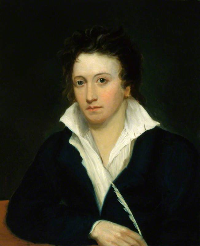 percy bysshe shelley ( copia dopo originali 1918 di amelia curran e edward ellerker williams ), olio su tela di Alfred Clint