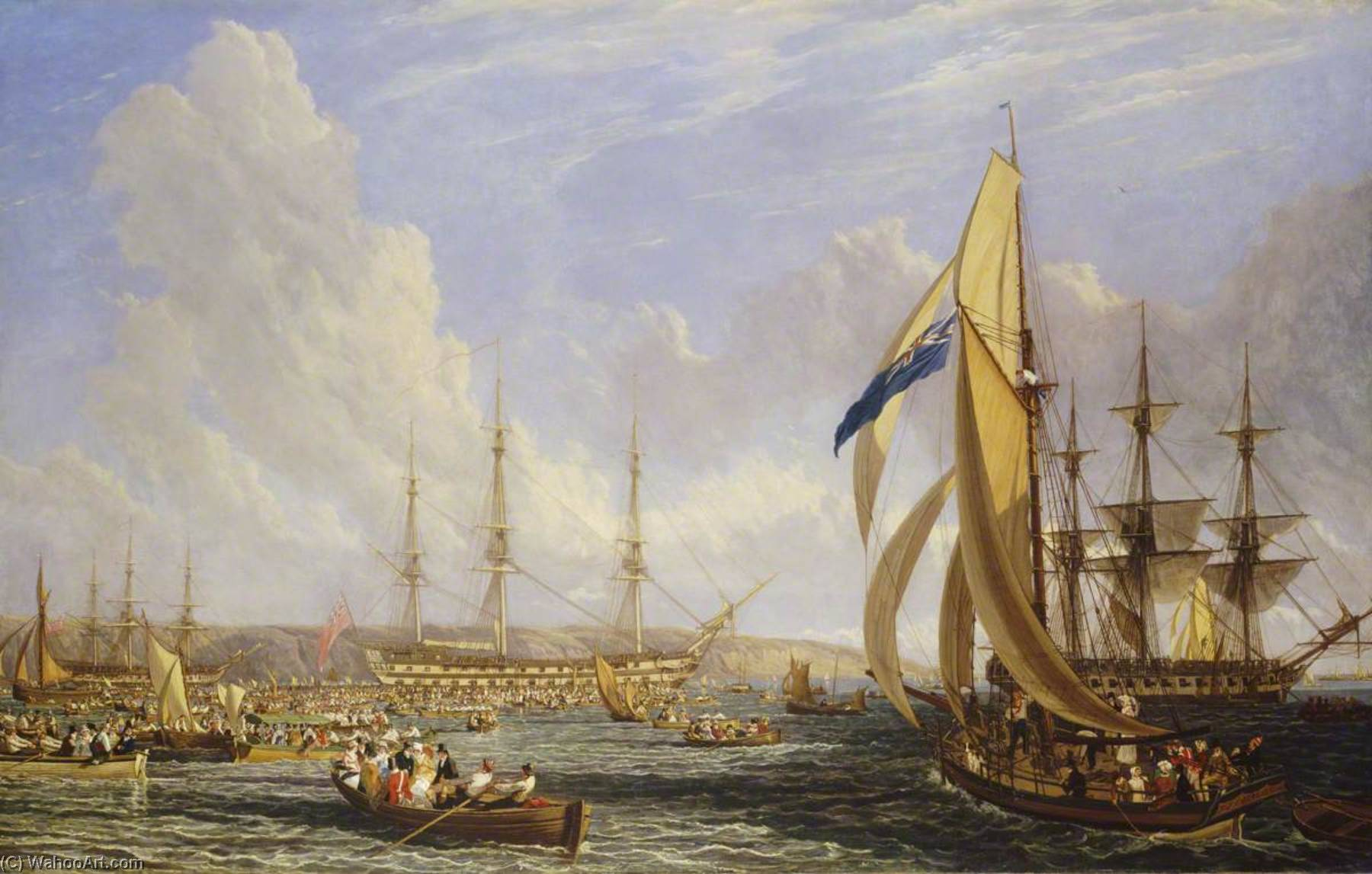 Il 'Bellerophon' con napoleone A bordo a plymouth ( 26 July–4 Agosto 1815 ), olio su tela di John James Chalon (1778-1854)