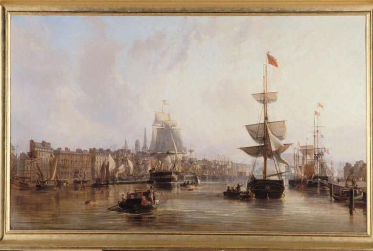 le port de rouen it 1855, olio di Charles Louis Mozin (1806-1862)