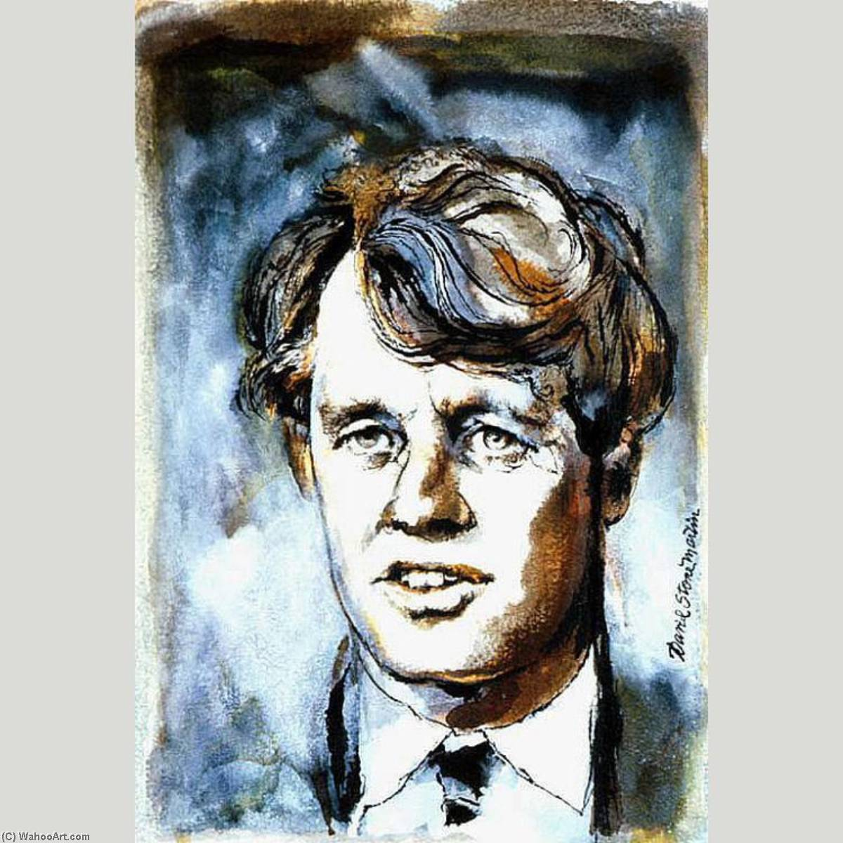 robert f . Kennedy, acquerello di David Stone Martin (1913-1992)