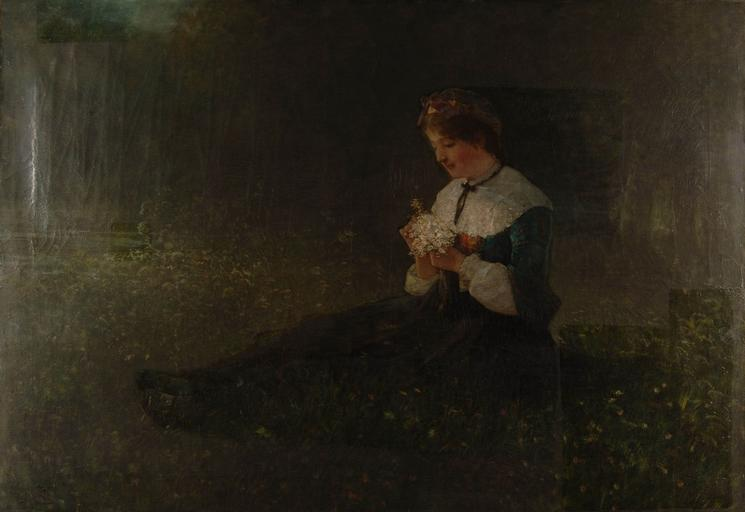 Jeune paysanne assise dans l'herbe, olio di Gustave Adolphe Jundt (1830-1884)