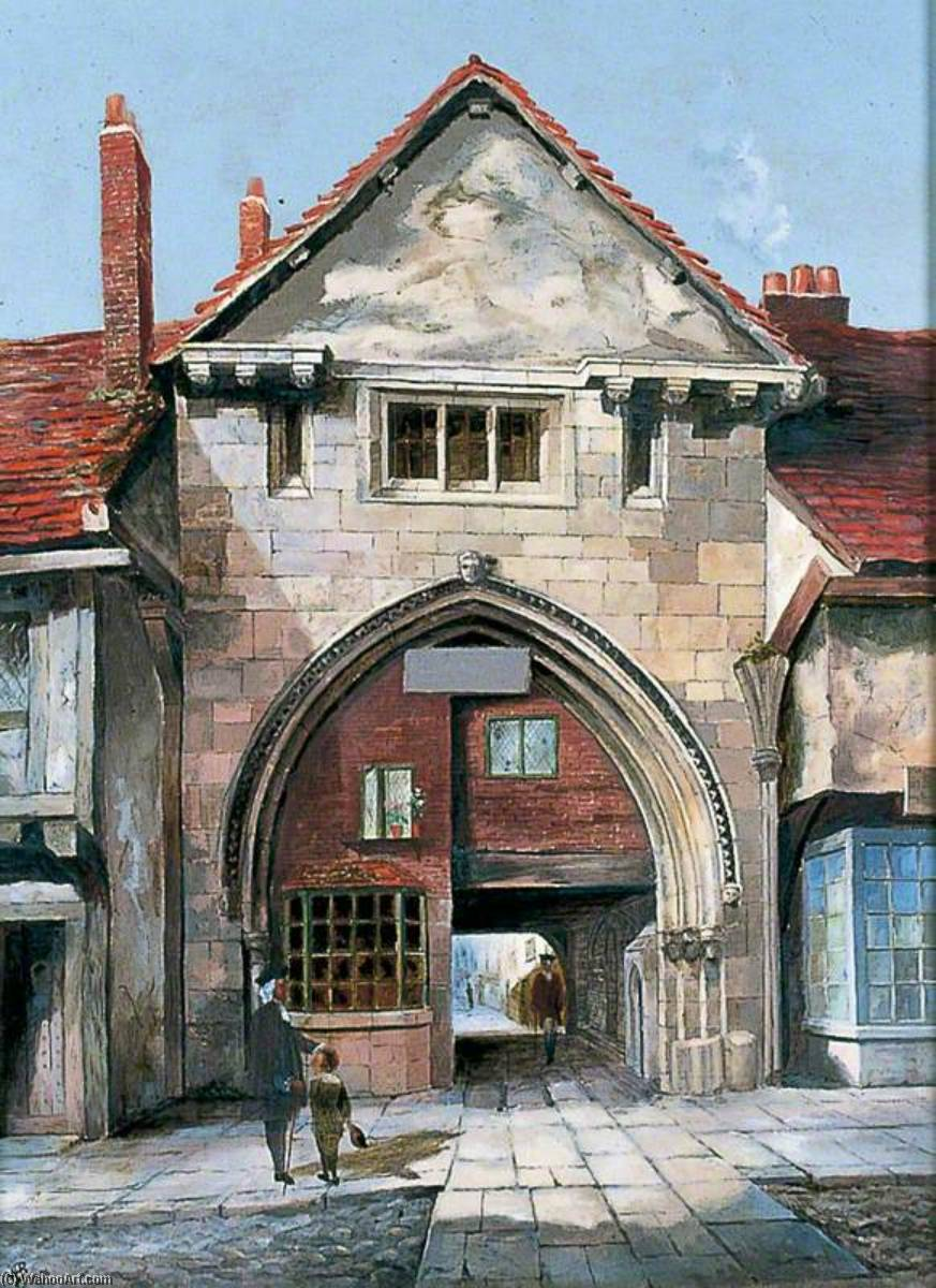 il gatehouse al santo Trinità Prioria , York, 1891 di Walter Harvey Brook (1863-1943, United Kingdom) | Riproduzione Art | WahooArt.com