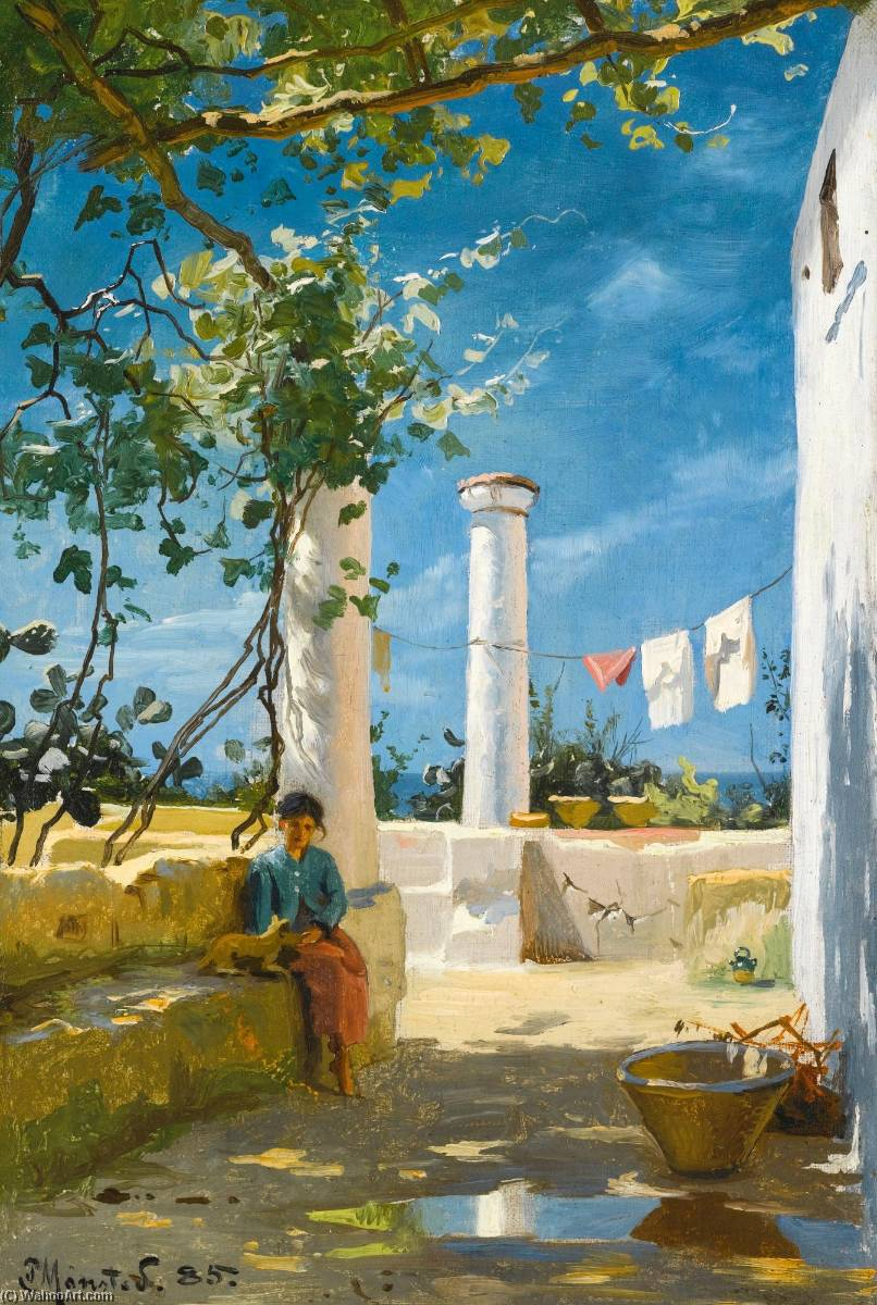 Estate a capri, olio su tela di Peder Mork Monsted (1859-1941, Denmark)