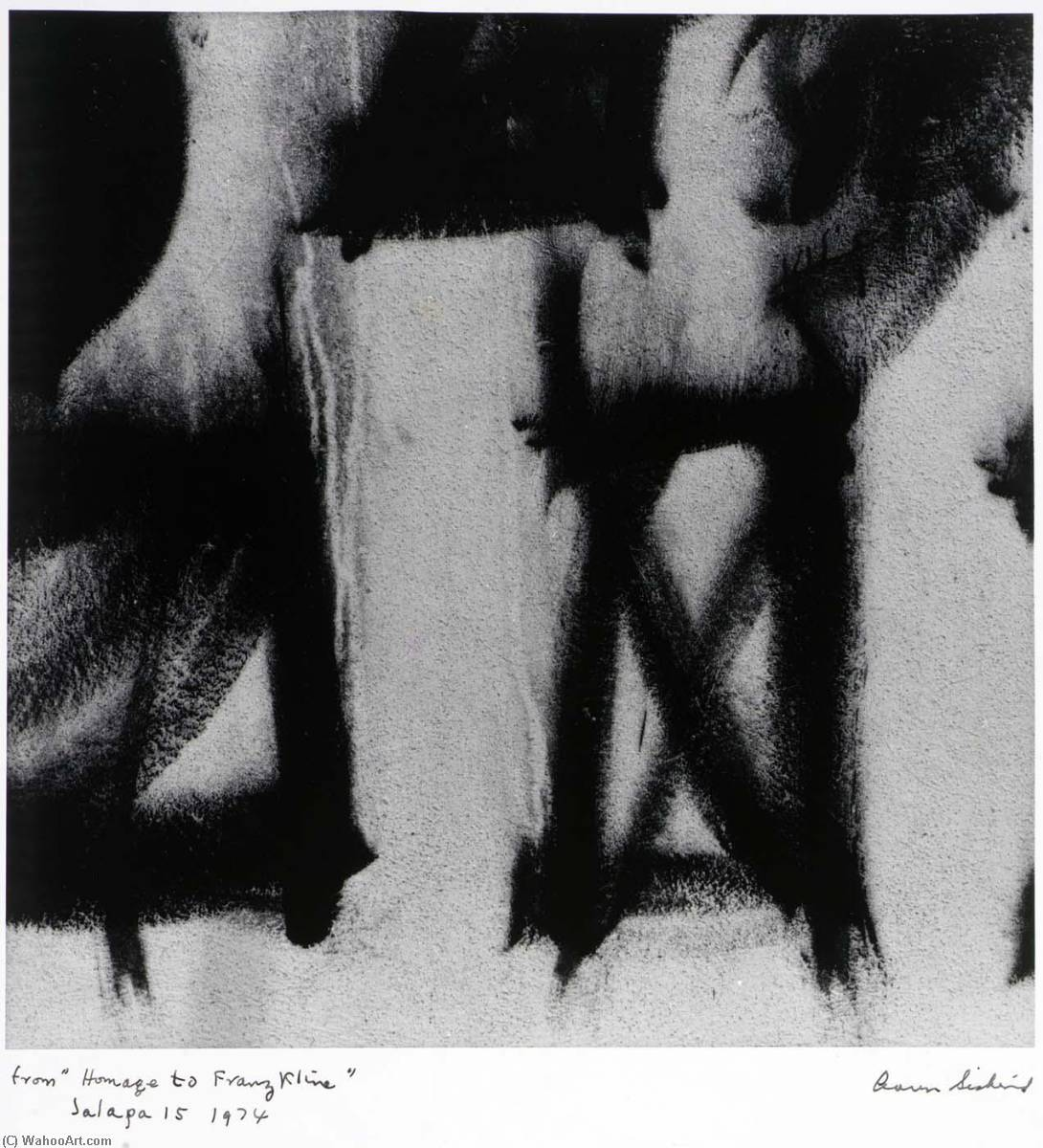 Jalapa 15 1974 , dal serie Omaggio a franz kline, stampa di Aaron Siskind (1903-1991, United States)