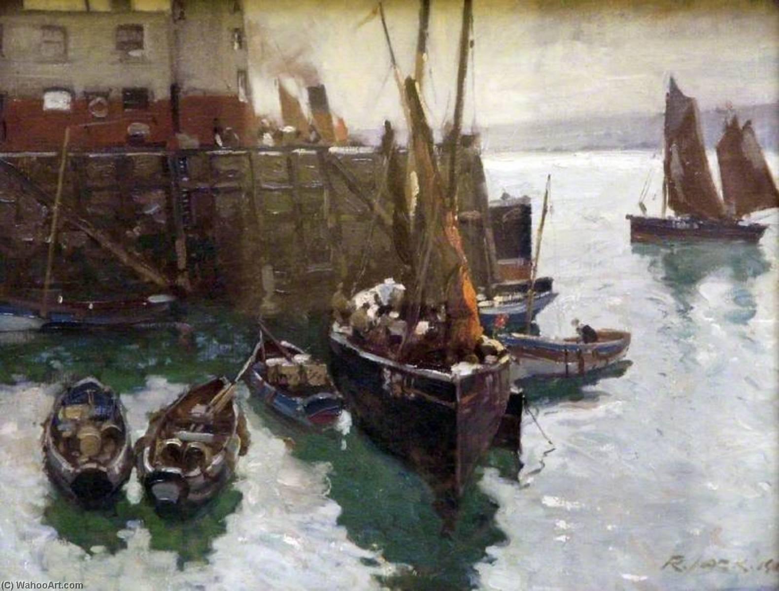 Scarborough Porto , nord yorkshire, olio su tela di Richard Jack (1866-1952, United Kingdom)