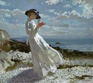 William Newenham Montague Orpen - Grazia lettura a Howth Bay