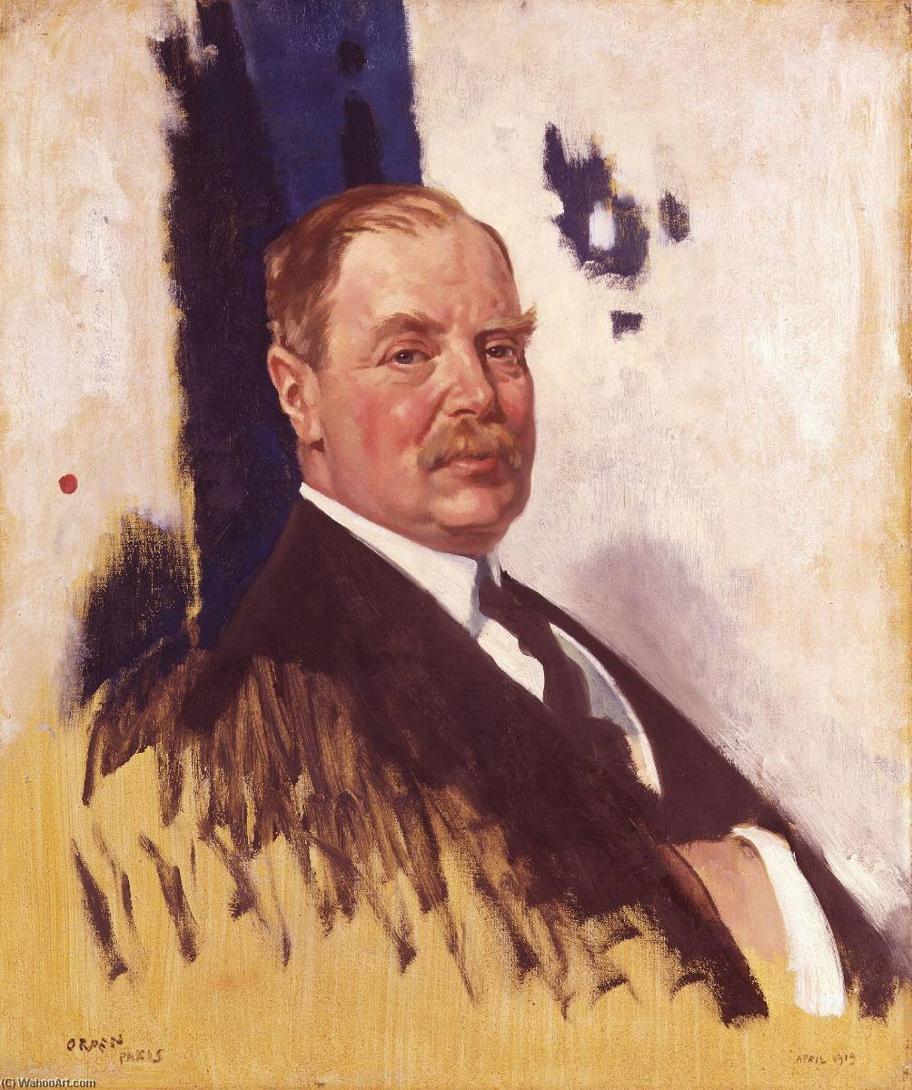 Edward Giorgio villiers stanley 17th Conte di Derby, olio su tela di William Newenham Montague Orpen (1878-1931, Ireland)