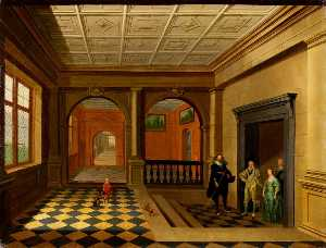 Hendrick Van Steenwijck The Younger - un interno con il re carlo i , regina henrietta maria , jeffery hudson , william herbert , 3rd Conte di Pembroke e la sua Fratello Filippo Herbert ( tardi 4th Conte di Pembroke )