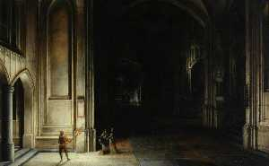Hendrick Van Steenwijck The Younger - interni di un chiesa con  figure