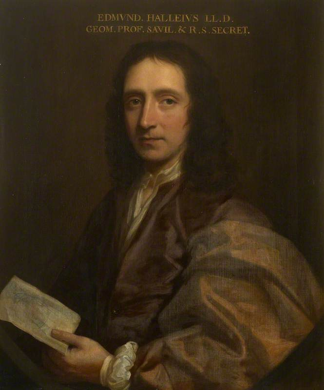 edmond halley ( 1656–1742 ), olio su tela di Thomas Murray