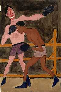 William Henry Johnson - joe louis e non identificato Pugile