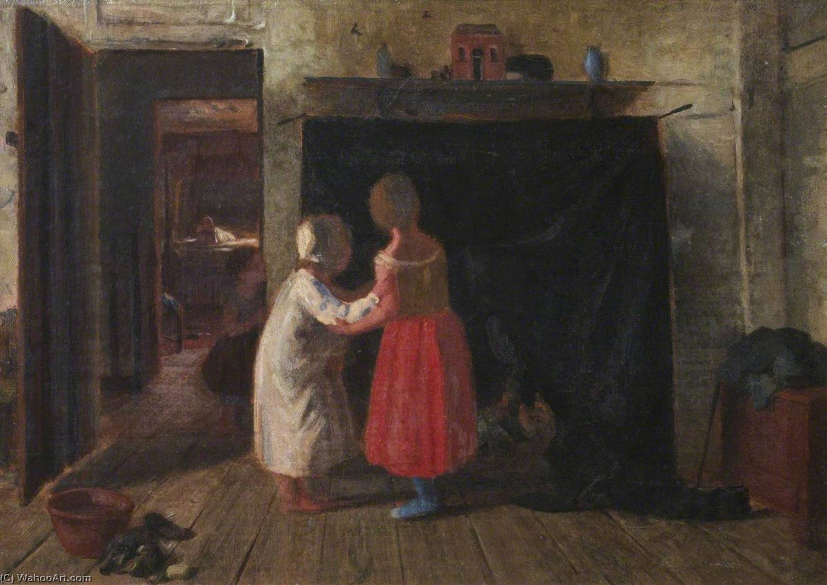 interni casa, olio su tela di Thomas Stuart Smith