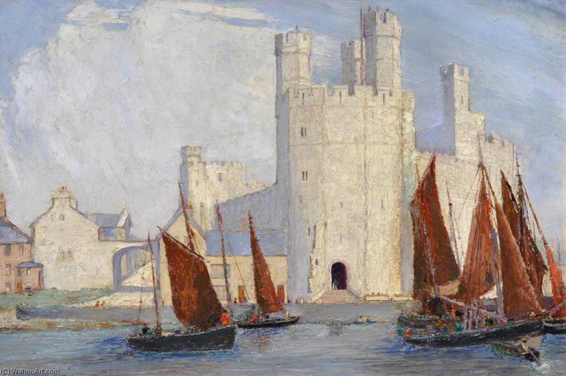 Caernarfon Castello, olio su tela di Harry Hughes Williams