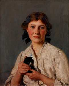 Frederick William Elwell - ragazza con un gattino