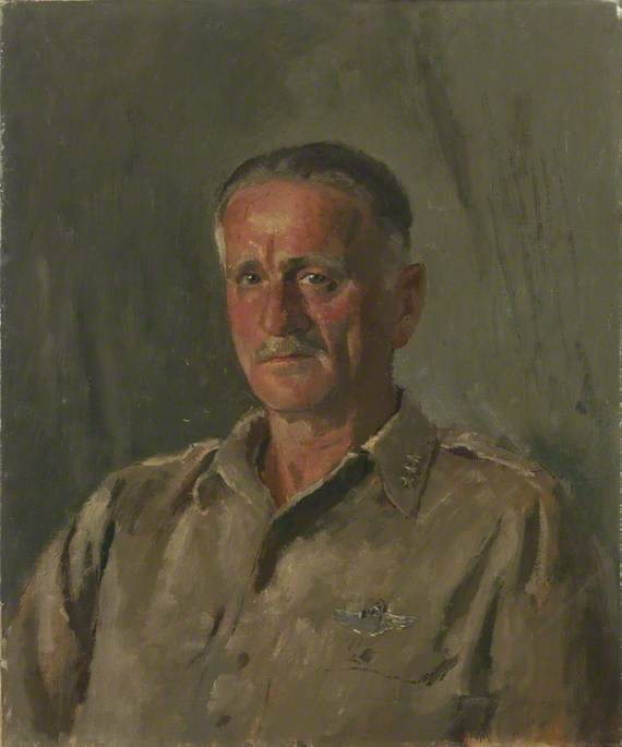 generale spaatz ( 1891–1974 ) , air commodore in capo , Indiano air force, olio su tela di Henry Marvell Carr