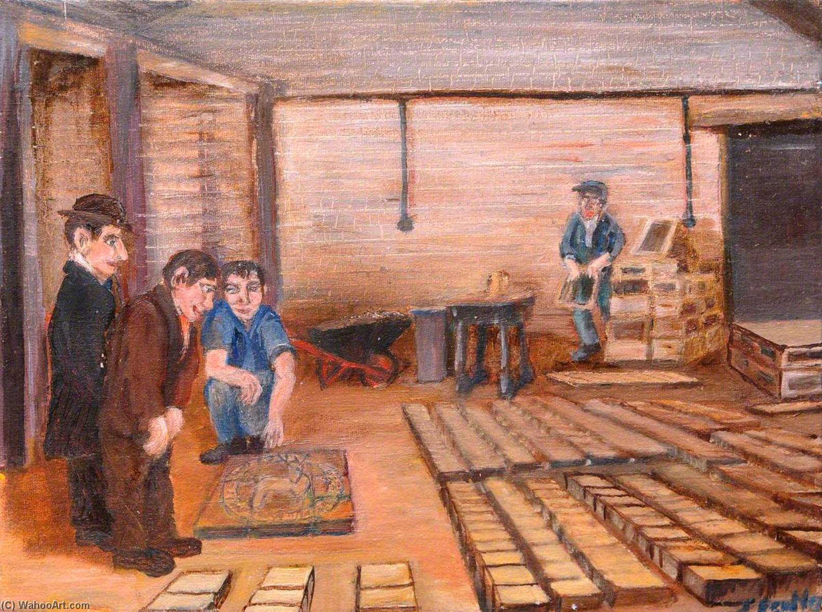 'Does questo per favore tu ' , Hartlepool's Placca , Catherall's Brickworks, olio su tela di James Bentley