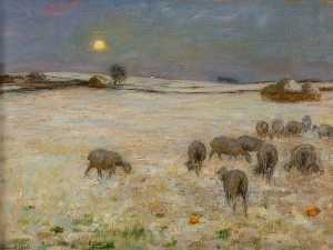 William Edward Stott - pecore in la neve