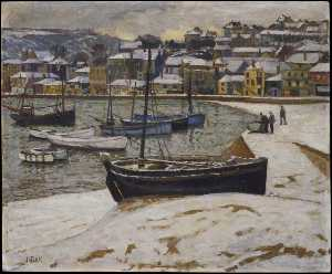 John Anthony Park - Neve in il porto di st Ives