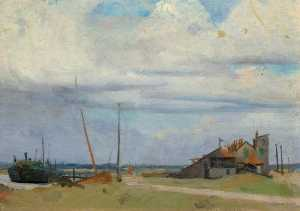 il nero Riva , Southwold, olio su tela di William Oliphant Hutchison (ordinare Belle Arti giclée William Oliphant Hutchison)