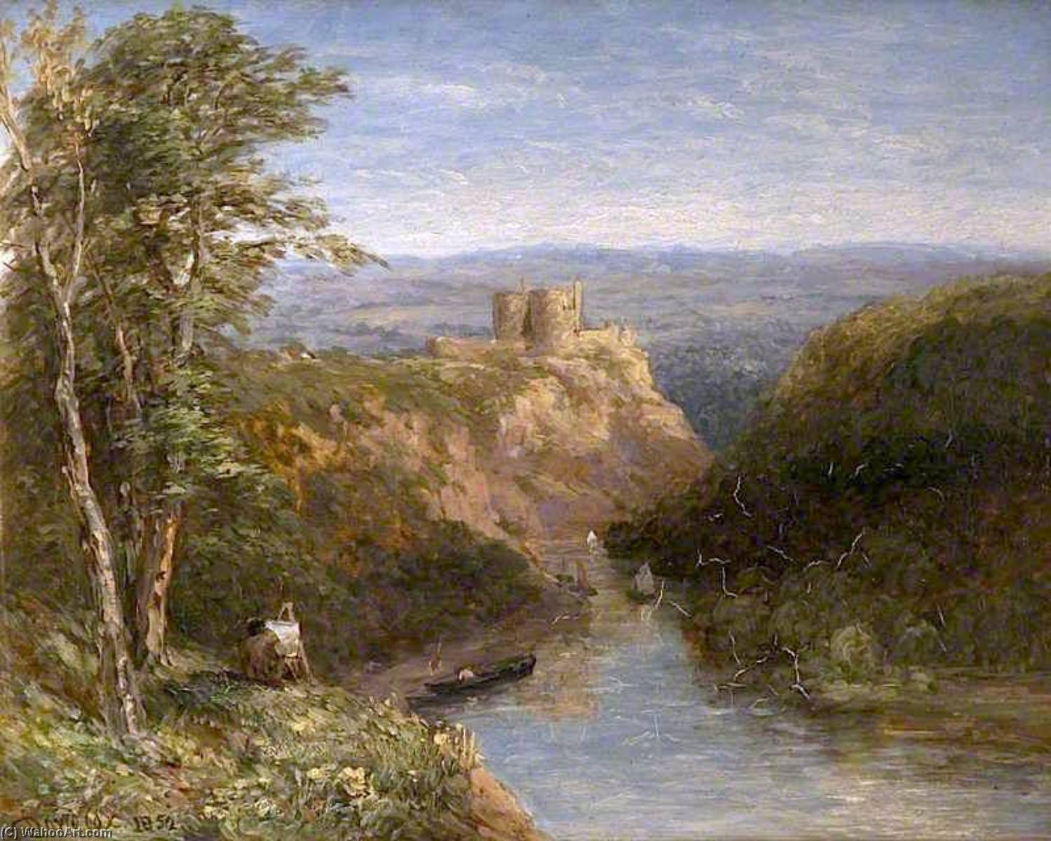 Kilgerran Castello , Pembrokeshire, 1852 di David Cox The Elder | Riproduzioni Di Quadri David Cox The Elder | WahooArt.com