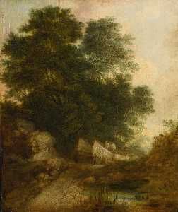 Thomas Gainsborough - paesaggio boschivo con  contadini  come  Un  carro