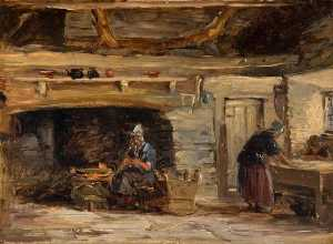 David Cox The Elder - interni casa , trossavon vicino a betws y coed