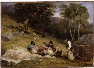 David Cox The Elder - tosatura delle pecore