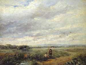 David Cox The Elder - fiume scena con ragazzi pescare