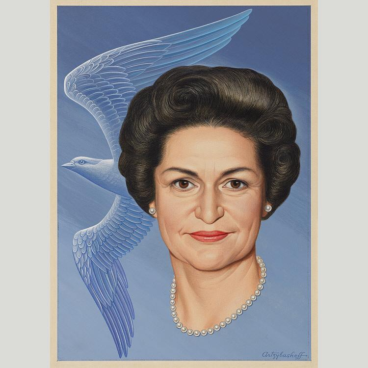 lady bird johnson, 1964 di Boris Artzybasheff (1899-1965) | WahooArt.com