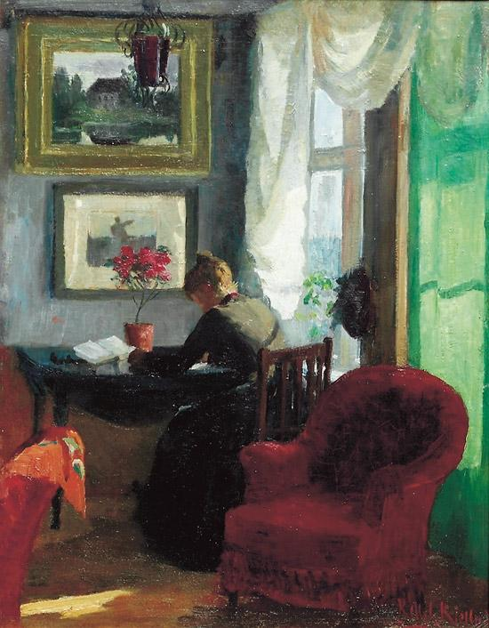 interno con rosso  sedia  di Kitty Kielland