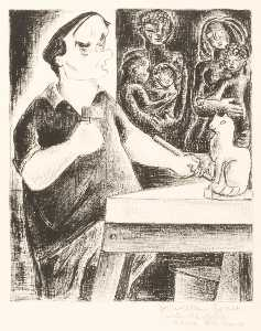 Aline Fruhauf - (Untitled william zorach carving a Gatto )