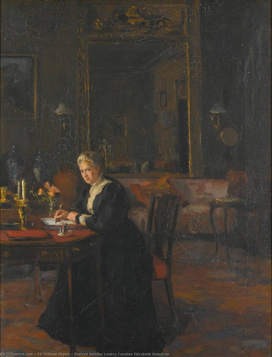 Ritratto interno louisa caroline Elisabetta Hamilton, olio su tela di William Newenham Montague Orpen (1878-1931, Ireland)