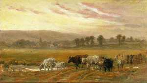Alfred Fitzwalter Grace - Tramonto vicino a amberley , Ovest Sussex