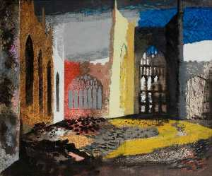 John Piper - Interno di Coventry Cattedrale , 15 Novembre 1940