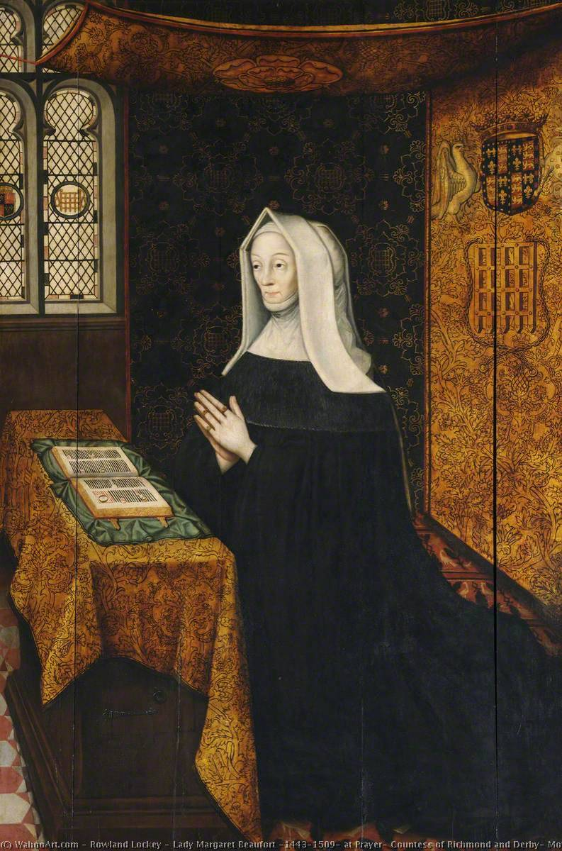 signora margaret beaufort ( 1443–1509 ) in preghiera , Contessa di richmond e derby , Madre di Re Enrico vii e fondatrice del Università, olio su tavola di Rowland Lockey