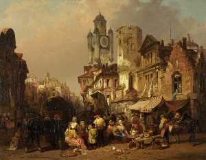 Henry Courtney Selous - mercato scena , Bergues , Frutti