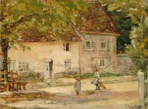 Elinor Proby Adams - Casolare a slindon , Sussex , dirimpetto il villaggio Compagnia
