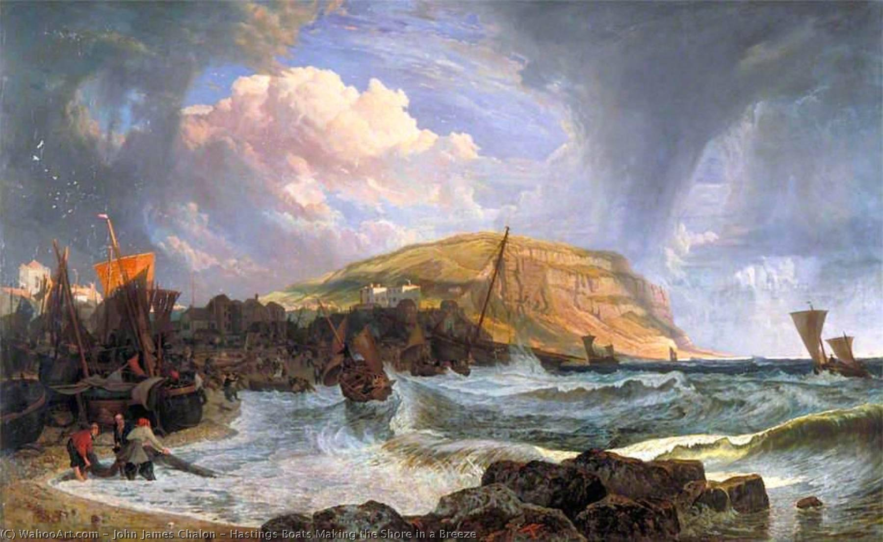 Hastings Barche Fare la riva in un Brezza, olio su tela di John James Chalon (1778-1854)