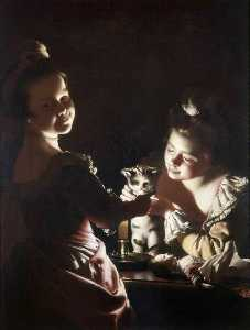 Joseph Wright Of Derby - due ragazze dressing un kitten by candlelight Alternativa titolo Medicazione il gattino