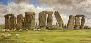 Edgar Barclay - Stonehenge dal Ovest , Wiltshire
