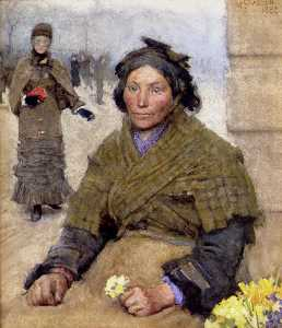 George Clausen - Flora , the flower seller gypsy